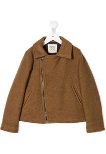 Douuod Kids Zipped Casual Jacket - Marrom