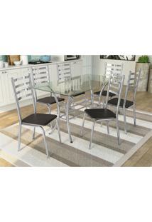 Conjunto Mesa Dária C/ 6 Cadeiras Alemanha Cromado/Preto Kappesberg