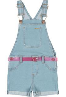 Jardineira Infantil Em Jeans Azul