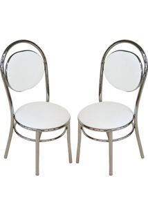 Cadeira 190 Cromada 02 Unidades Branca Carraro