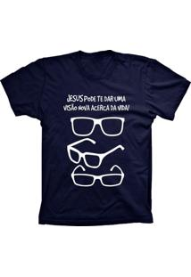 Camiseta Baby Look Lu Geek Visão Da Vida Azul Marinho