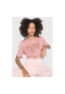 Camiseta Lança Perfume Bordada Rosa