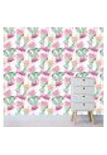 Papel De Parede Adesivo - Flamingos - Cactos - 312Pps