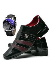 Sapato Social Masculino Asgard Com Relógio Db 813Lbm Vinho