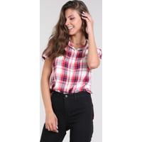 8611b57038 Camisa Feminina Estampada Xadrez Vermelha