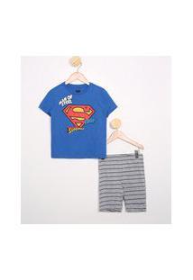 Pijama Infantil Manga Curta Super Homem Azul