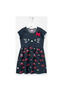 Vestido Infantil Estampa Hello Kitty - Tam 1 A 6 Anos | Hello Kitty | Azul | 01