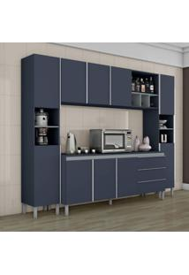 Cozinha Completa 10 Portas 1 Balcão Com Tampo 3 Gavetas Nichos E Adega Nice I Siena Móveis Azul/Cinza