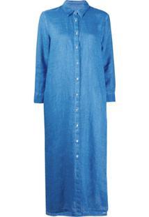 120% Lino Chemise Mangas Longas - Azul