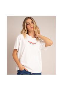 """Camiseta De Algodão """"Empieza El Matriarcado"""" Manga Curta Decote Redondo Off White"""