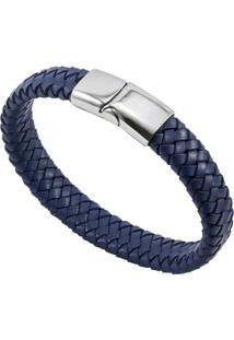Bracelete De Aço Inox Tudo Joias Com Couro Antique Black - Unissex-Azul