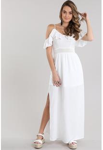 Vestido Longo Open Shoulder Com Fendas Off White