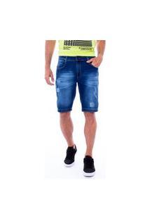Bermuda Reta Jeans Masculina Com Rebite Jeans