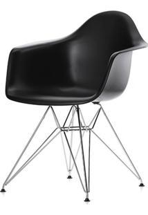 Cadeira Eames Com Braco Base Cromada Preto Fosco - 16532 Sun House