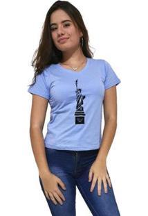 Camiseta Gola V Cellos New York Premium Feminina - Feminino-Azul Claro