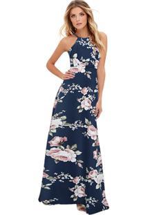 Vestido Longo Floral Acinturado