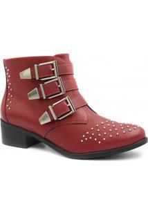 Bota Cano Curto Via Marte Ankle Boot Fivelas Feminina - Feminino