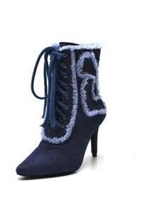 Bota Cano Médio Bico Fino Jeans Azul