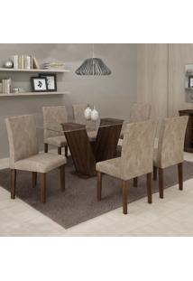 Conjunto Sala De Jantar Mesa 6 Cadeiras Classic 160Cm Cel Móveis Malbec/ Suede Pena 84