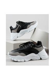 Tênis Feminino Oneself Sneaker Chunky Com Recortes Bicolor Preto