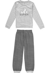 Pijama Mescla Super Filho Em Malha