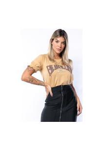 T-Shirt Feminina Jajô Com Strass Fashion Camiseta Mostarda