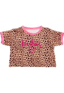 Blusa Infantil Yoyo Cropped Onça Pink - Tricae