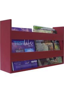 Porta Livros E Revistas De Parede 50X30X11 Vermelho