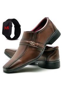 Sapato Social Asgard Com Relógio Led Db 806Lbm Marrom