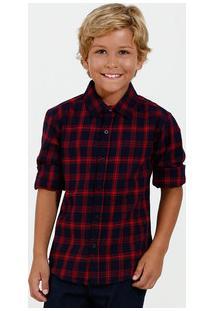 Camisa Infantil Flanelada Estampa Xadrez Manga Longa Marisa
