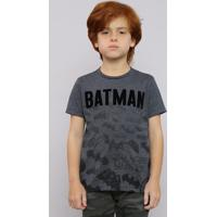 9c0d08c2f Camiseta Infantil Batman Manga Curta Gola Careca Cinza Mescla