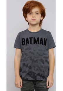 Camiseta Infantil Batman Manga Curta Gola Careca Cinza Mescla