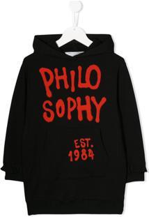 Philosophy Di Lorenzo Serafini Kids Vestido De Moletom Com Estampa De Logo - Preto