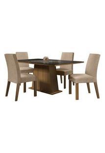 Conjunto Sala De Jantar Madesa Sabrina Mesa Tampo De Vidro Com 4 Cadeiras Rustic/Preto/Imperial Rustic