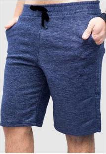 Bermuda Basica De Moletom Suffix Bolso Jeans Masculina - Masculino-Azul Escuro