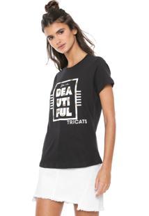 Camiseta Tricats Estampada Beautiful Preta
