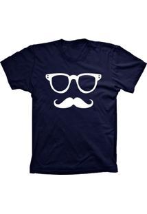 Camiseta Baby Look Lu Geek Mustache Azul Marinho