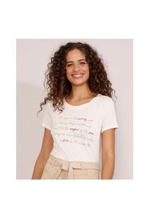 "Camiseta Feminina Manga Curta ""Sunny Side"" Decote Redondo Bege Claro"