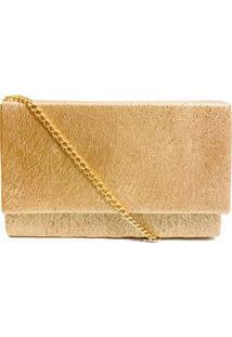 Bolsa Clutch Textura Em Linha Com Brilho - Dourado