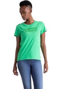 Camiseta Levis Logo Batwing Feminina - Feminino-Verde