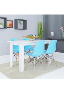 Conjunto De Mesa Cogma Com 4 Cadeiras Eames Base Madeira Branco E Azul
