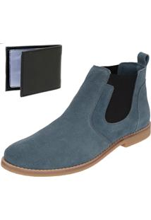 Bota Chelsea Boots Lisa Sir.W Couro Camurça Azul + Brinde Carteira Sintética