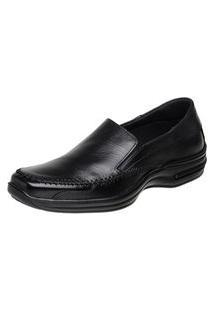 Sapato Social Conforto Em Couro Com Elástico San Lorenzo Preto