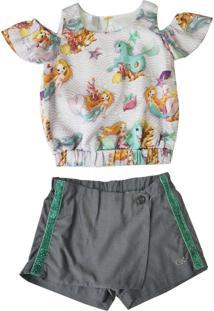 Conjunto Gira Baby Kids Infantil Bata Estampada Com Shorts Jeans