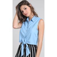 7958332c3f0ad CEA. Camisa Jeans Feminina Cropped Com Amarração Sem Manga Azul Claro