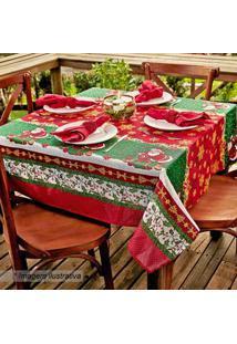 Lepper Toalha De Mesa Estampada Natal Verde & Vermelha 140X140Cm
