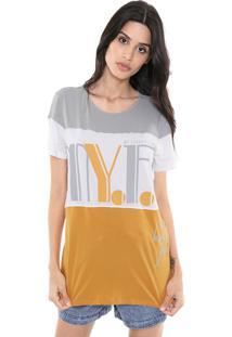 Camiseta My Favorite Thing(S) Recortes Cinza/Laranja