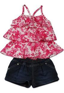 Conjunto Infantil Cetim Estampa Digital Floral E Ã - Feminino-Pink