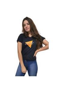 Camiseta Feminina Gola V Cellos Nacho Premium Preto