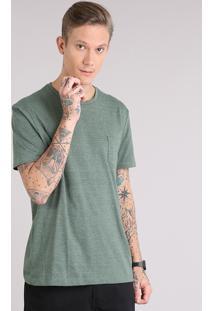 f73b968993 Camiseta Masculina Básica Com Bolso Manga Curta Gola Careca Verde Militar